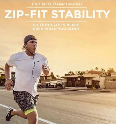 Zipbuds slide sport v2 earbuds with mic