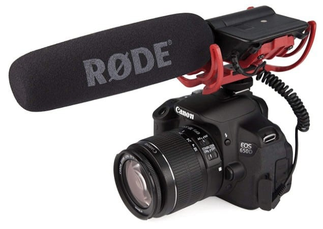 Rode VideoMic attached to camera