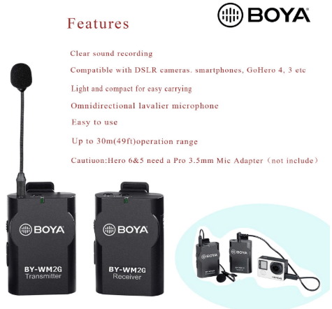 BOYA BY-WM2G Wireless Lavalier Microphone System