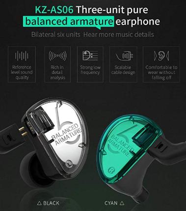 details of KZ IEM earbuds
