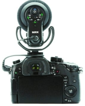Rode VideoMic Pro+ attached to the camera