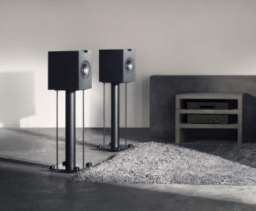 KEF Q350 speakers mounted on stands